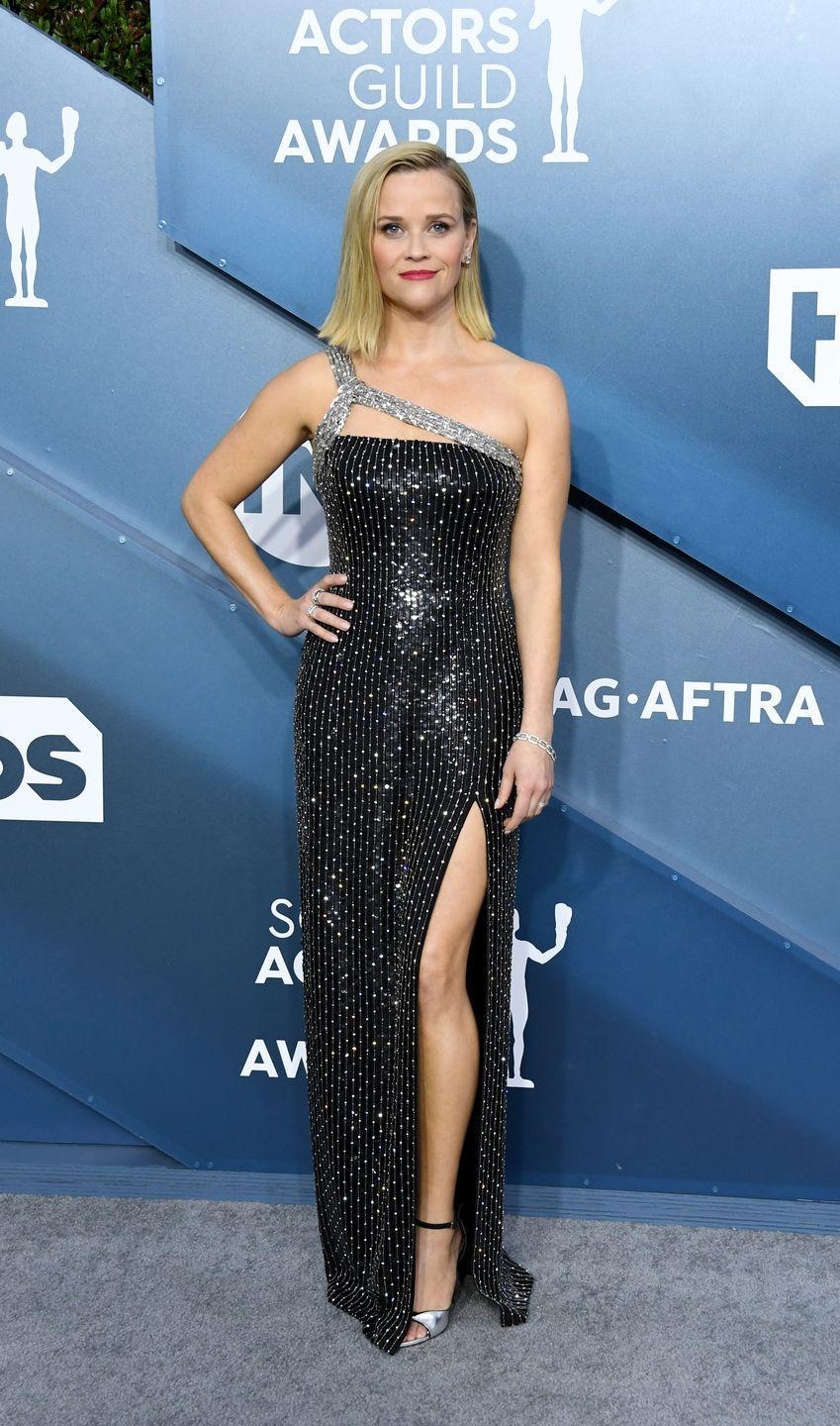 <p>Witherspoon has never looked cooler in a Celine column gown with well-executed sparkle—and a bit of edge.</p>