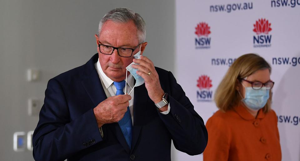 NSW Health Minister Brad Hazzard arrives to speak to the media during a press conference in Sydney, Sunday, October 3, 2021. Source: AAP
