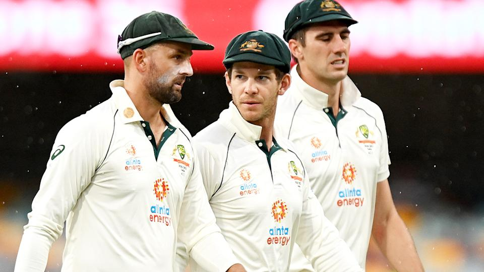 Cricket Australia players, pictured here after the fourth Test against India.