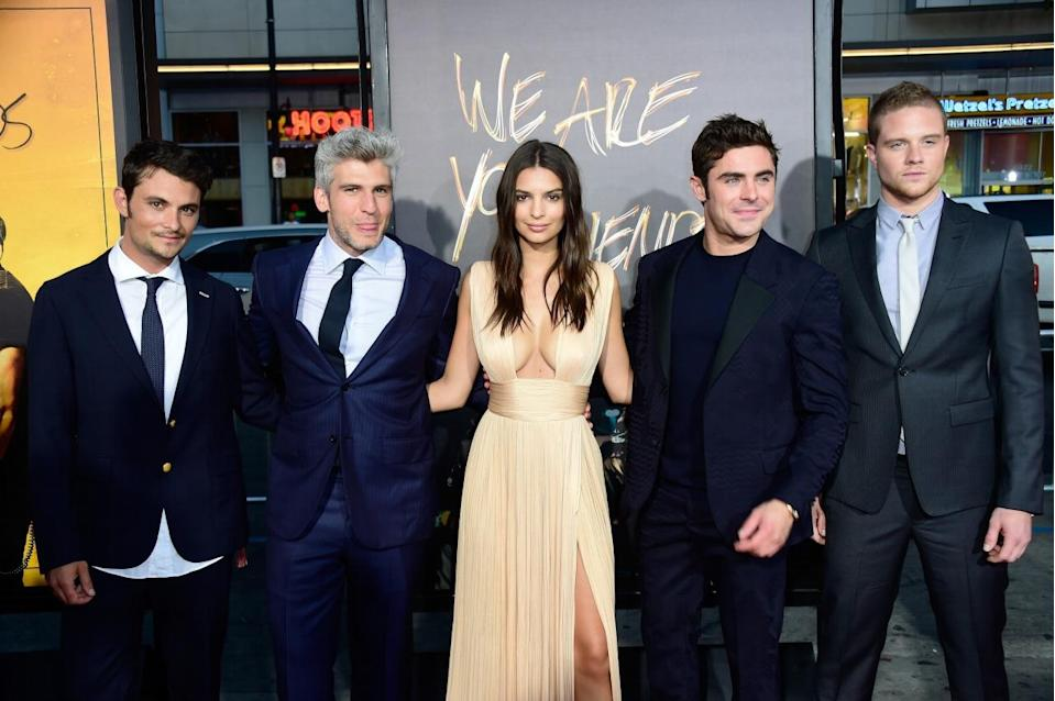 """HOLLYWOOD, CA - AUGUST 20: Actors Shiloh Fernandez, director Max Joseph, Emily Emily Ratajkowski, Zac Efron, Alex Shaffer arrive at the Premiere Of Warner Bros. Pictures' """"We Are Your Friends"""" at TCL Chinese Theatre on August 20, 2015 in Hollywood, California. (Photo by Frazer Harrison/Getty Images)"""