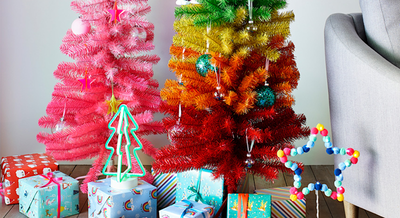 Brighten up your Christmas with a rainbow tree. [Photo: Argos]