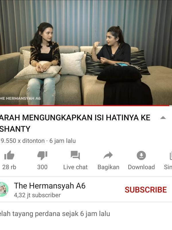Sarah Menzel dalam konten Ashanty. (Foto: YouTube The Hermansyah A6)