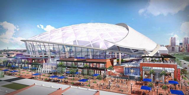 A rendering for the new Tampa Bay Rays stadium in Ybor City. (Twitter/@RaysBaseball)