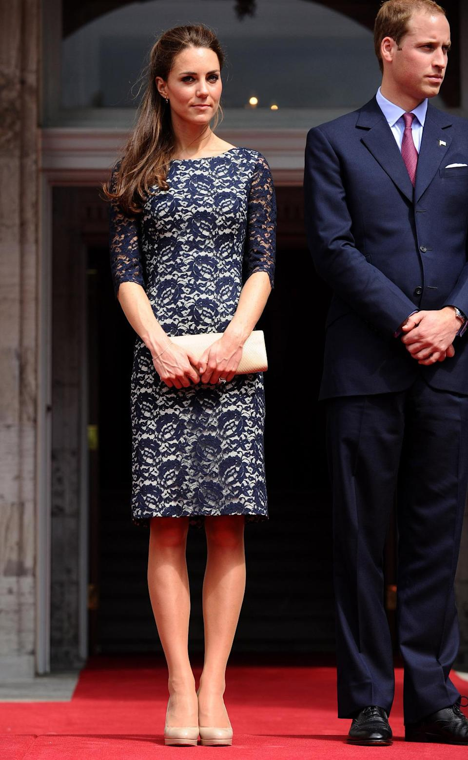 <p>Kate arrived in Canada wearing a black lace dress by Erdem, a Stuart Weitzman clutch and nude pumps.</p><p><i>[Photo: PA]</i></p>
