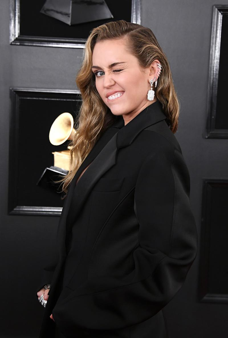 424a8fc8d48 Grammys 2019  Miley Cyrus wears suit