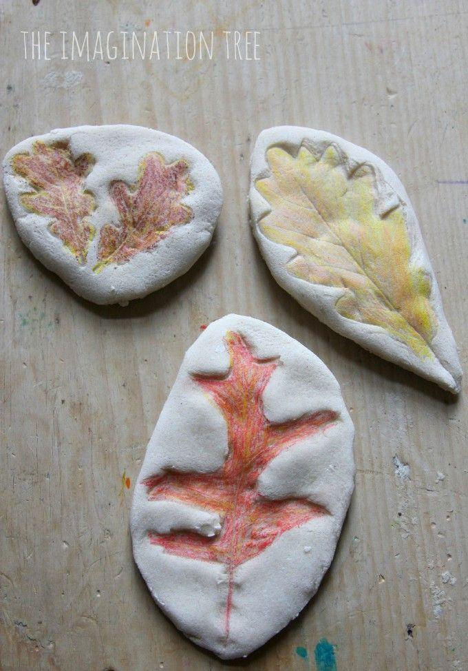 """<p>Go one step beyond leaf rubbing with these salt-dough leaf impressions. Plus, it'll give kids the inspiration they need to go with you on that nature walk.</p><p><em><a href=""""https://theimaginationtree.com/coloured-salt-dough-leaf-impressions/"""" rel=""""nofollow noopener"""" target=""""_blank"""" data-ylk=""""slk:Get the tutorial at The Imagination Tree »"""" class=""""link rapid-noclick-resp"""">Get the tutorial at The Imagination Tree »</a></em> </p>"""