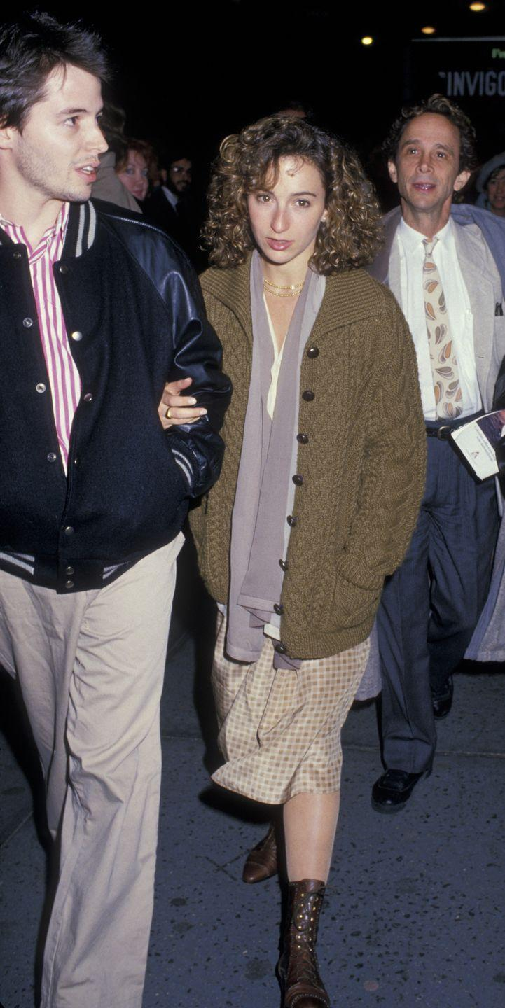 <p>Perhaps in a reaction to the more high-fashion fall looks at the decade's start, the late '80s saw a boho trend arise. Jennifer Grey layered up with a sweater, scarf, and long maxi skirt to the premiere of <em>Burn This </em>with Matthew Broderick. </p>