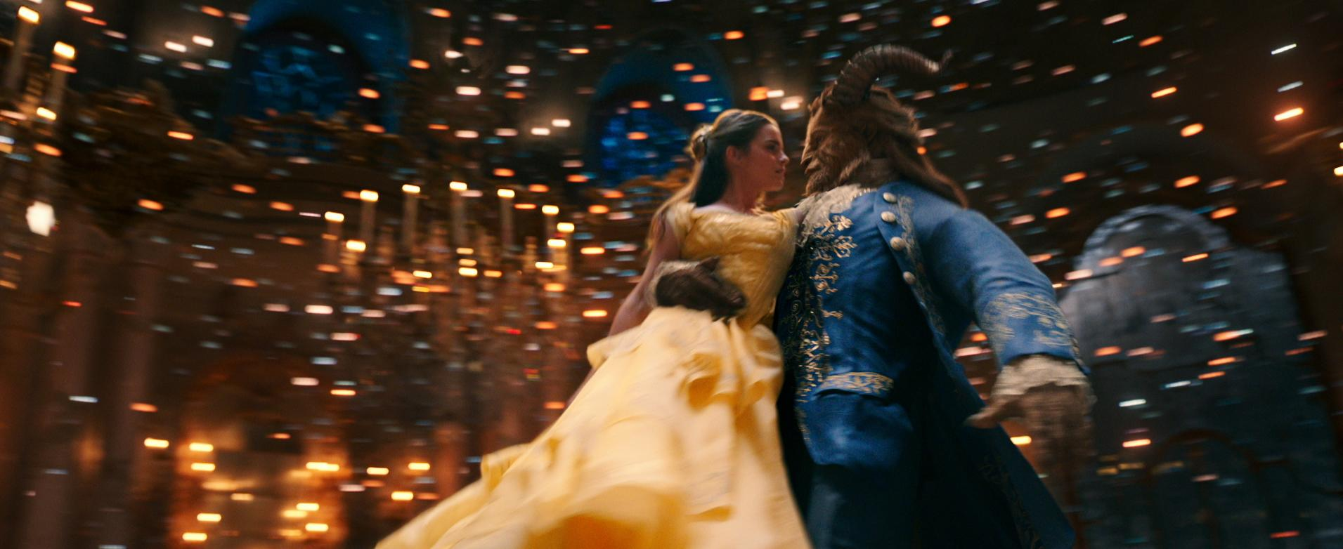 Belle (Emma Watson) comes to realize that underneath the hideous exterior of the Beast (Dan Stevens) there is the kind heart of a Prince in Disney's BEAUTY AND THE BEAST, a live-action adaptation of the studio's animated classic directed by Bill Condon. (Credit: Disney)