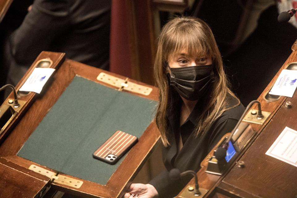 ROME, ITALY - JANUARY 18: Maria Elena Boschi from Italia Viva attends a confidence vote at Rome's Deputies Chamber on January 18, 2021 in Rome, Italy. Following the resignation of two ministers in Conte's coalition government over a dispute on spending of EU funds during the pandemic, the Italian government is on the verge of another crisis. (Photo by Alessandra Benedetti - Corbis/Getty Images) (Photo: Alessandra Benedetti - Corbis via Getty Images)