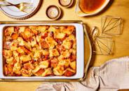 """<p><strong>Recipe: <a href=""""https://www.southernliving.com/recipes/hot-buttered-rum-bread-pudding"""" rel=""""nofollow noopener"""" target=""""_blank"""" data-ylk=""""slk:Hot Buttered Rum Bread Pudding"""" class=""""link rapid-noclick-resp"""">Hot Buttered Rum Bread Pudding</a></strong></p> <p>Three words: hot buttered rum. Can you imagine a more festive dessert to serve up after a celebratory holiday feast? Serve warm topped with vanilla ice cream. </p>"""