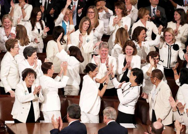 PHOTO: Female lawmakers cheer during President Trump's State of the Union address in the chamber of the U.S. House of Representatives in the Capitol, Feb. 5, 2019. (Alex Wong/Getty Images)