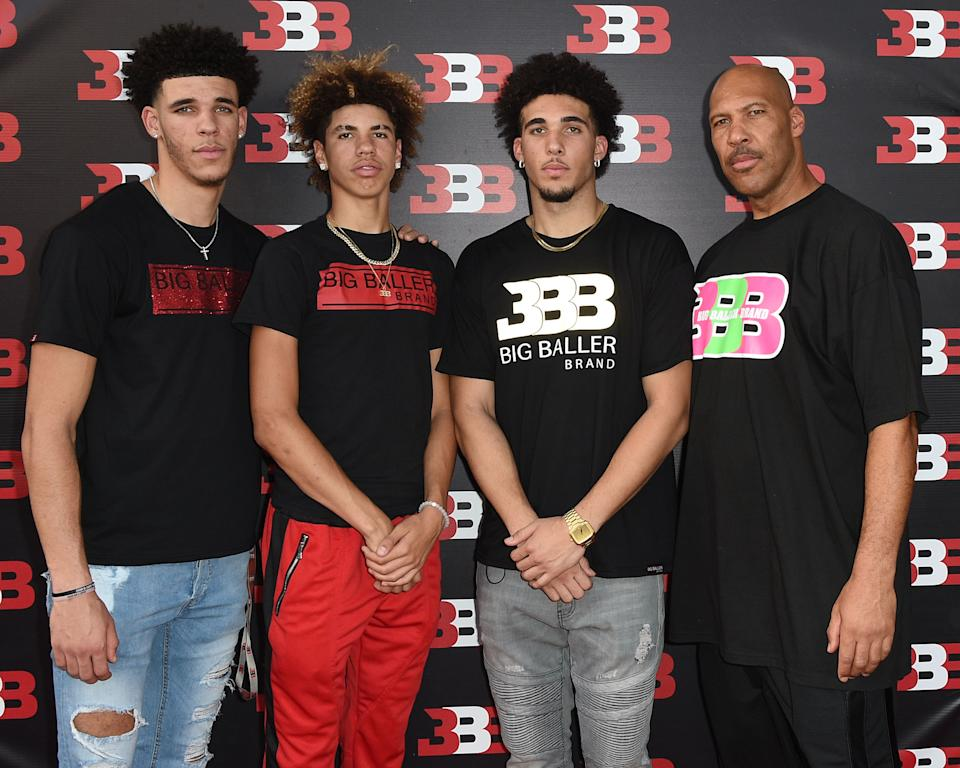 Lonzo, LaMelo, LiAngelo and LaVar Ball in 2017. (Joshua Blanchard/Getty Images)