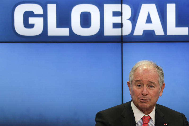 Blackstone Group CEO Stephen Schwarzman attends a panel about Global Markets in a Fractured World during the World Economic Forum, WEF, in Davos, Switzerland, Tuesday, Jan. 23, 2018. (AP Photo/Markus Schreiber)