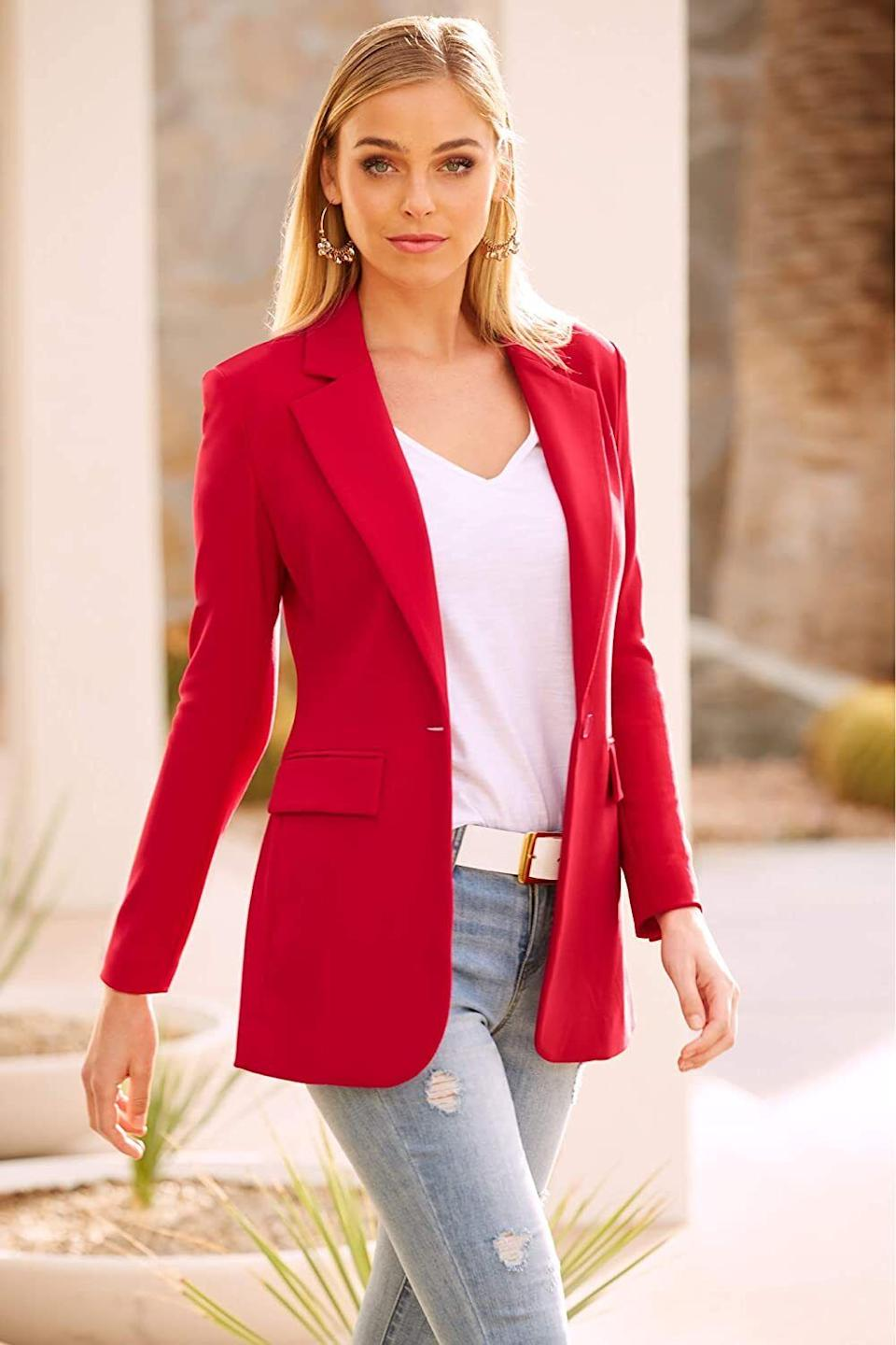 """Put this on to makeany outfit feel super professional — yes, even jeans and a T-shirt.<br /><br /><strong>Promising review:</strong>""""This jacket is worth every penny. It appears to be substantial and good quality, and the fit is great. It will undoubtedly be my favorite, most worn jacket. The a$$ -covering length is perfect for polishing tunic blouses and slim pants and jeans."""" —<a href=""""https://amzn.to/3tqz3YS"""" target=""""_blank"""" rel=""""nofollow noopener noreferrer"""" data-skimlinks-tracking=""""5753950"""" data-vars-affiliate=""""Amazon"""" data-vars-href=""""https://www.amazon.com/gp/customer-reviews/RST60R7XNS05J?tag=bfabby-20&ascsubtag=5753950%2C22%2C30%2Cmobile_web%2C0%2C0%2C0"""" data-vars-keywords=""""cleaning,fast fashion"""" data-vars-link-id=""""0"""" data-vars-price="""""""" data-vars-retailers=""""Amazon"""">A. Brown</a><br /><br /><strong>Get it from Amazon for<a href=""""https://amzn.to/3drkG10"""" target=""""_blank"""" rel=""""nofollow noopener noreferrer"""" data-skimlinks-tracking=""""5753950"""" data-vars-affiliate=""""Amazon"""" data-vars-asin=""""B07TLVW2PM"""" data-vars-href=""""https://www.amazon.com/dp/B07TLVW2PM?tag=bfabby-20&ascsubtag=5753950%2C22%2C30%2Cmobile_web%2C0%2C0%2C15956603"""" data-vars-keywords=""""cleaning,fast fashion"""" data-vars-link-id=""""15956603"""" data-vars-price="""""""" data-vars-product-id=""""18217881"""" data-vars-product-img=""""https://m.media-amazon.com/images/I/41JScp7NaDL.jpg"""" data-vars-product-title=""""Boston Proper - Beyond Travel - Women's One Button Knit Boyfriend Blazer"""" data-vars-retailers=""""Amazon"""">$98.50</a>(available in sizes 0-18 and in nine colors).</strong>"""