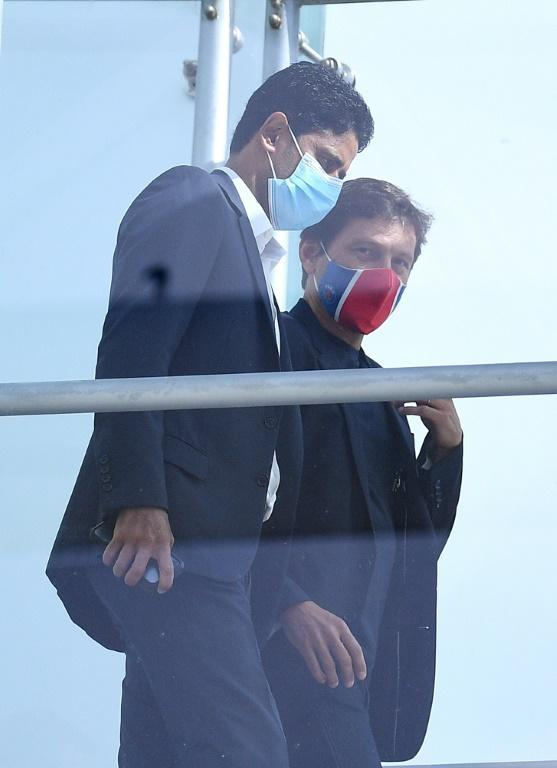 PSG president Nasser Al-Khelaifi with the club's sporting director Leonardo in Lisbon