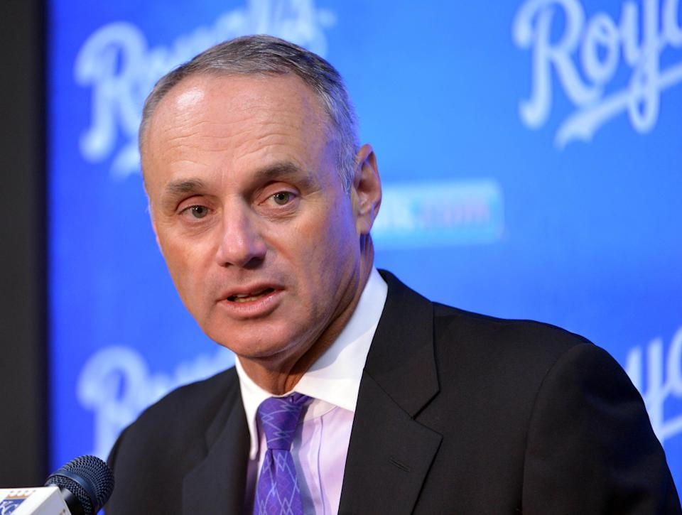 Apr 5, 2016; Kansas City, MO, USA; Major League Baseball commissioner Rob Manfred speaks to media before the game between the Kansas City Royals and New York Mets at Kauffman Stadium. Mandatory Credit: Denny Medley-USA TODAY Sports