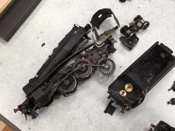 A smashed locomotive after the attack at Stamford Welland Academy in Linconshire (Market Deeping Model Railway Club)