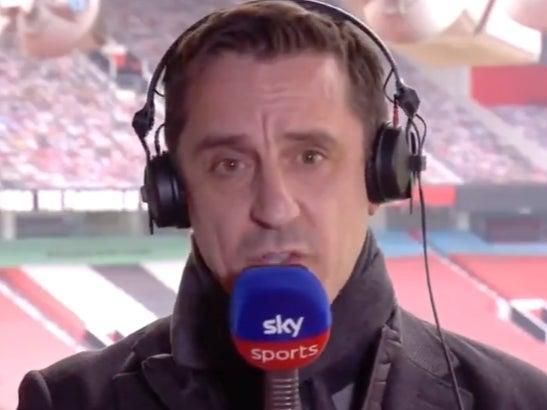 <p>Gary Neville: 'You have got to stamp on this, it's criminal, it's a criminal act'</p> (Sky Sports)