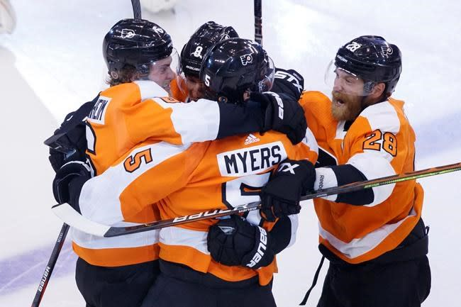 Myers scores early in OT, Flyers even series with Islanders