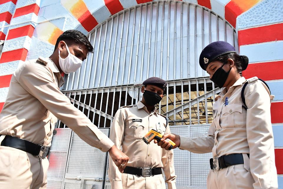 <p>File: Security personnel at Netaji Subhash Chandra Bose central jail in Madhya Pradesh on 4 April, 2020</p> (AFP via Getty Images)
