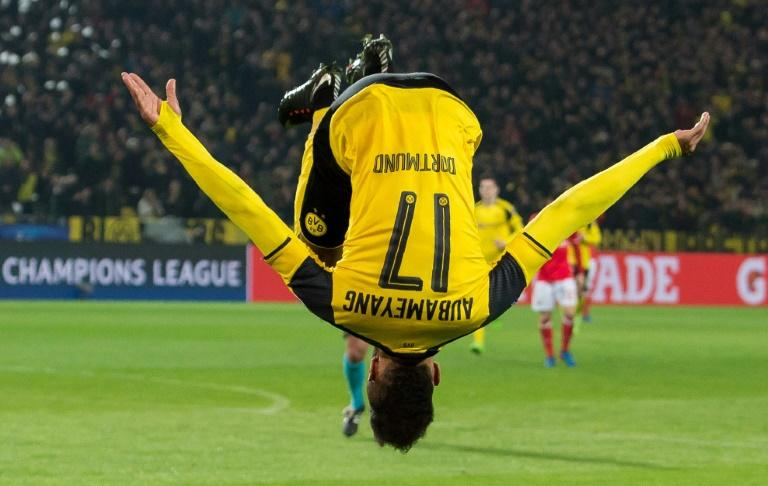 Dortmund's Pierre-Emerick Aubameyang celebrates after scoring a goal during their UEFA Champions League round of 16, 2nd-leg match against Benfica, in Dortmund, on March 8, 2017
