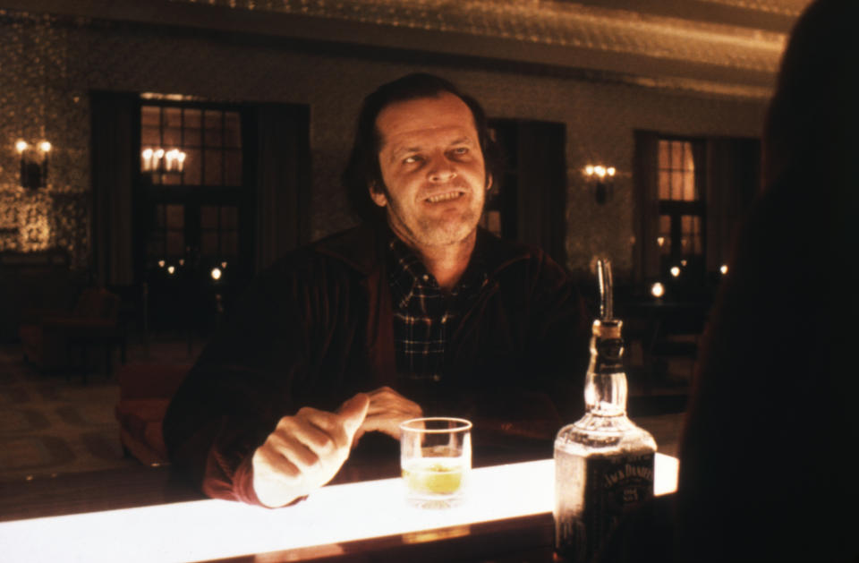 Jack Nicholson on the set of The Shining, based on the novel by Stephen King, and directed by Stanley Kubrick. (Photo by Sunset Boulevard/Corbis via Getty Images)