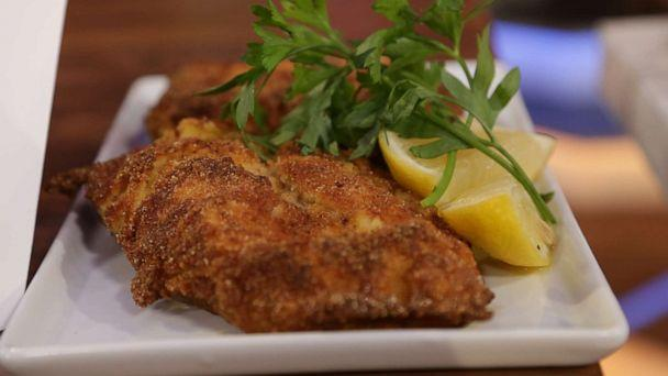 PHOTO: Chef Helene Henderson's mustard chicken and breadcrumbs (ABC)