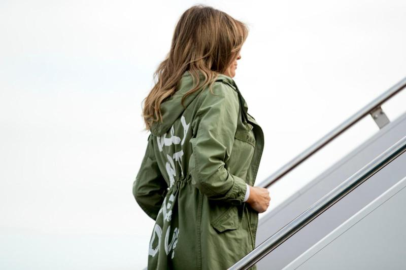 The First Lady wore a jacket with the words emblazoned on the back (AP)