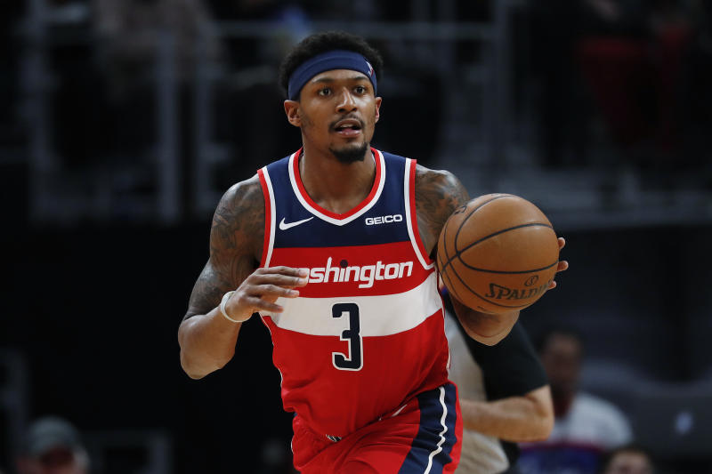 Washington Wizards guard Bradley Beal plays against the Detroit Pistons in the second half of an NBA basketball game in Detroit, Monday, Dec. 16, 2019. (AP Photo/Paul Sancya)