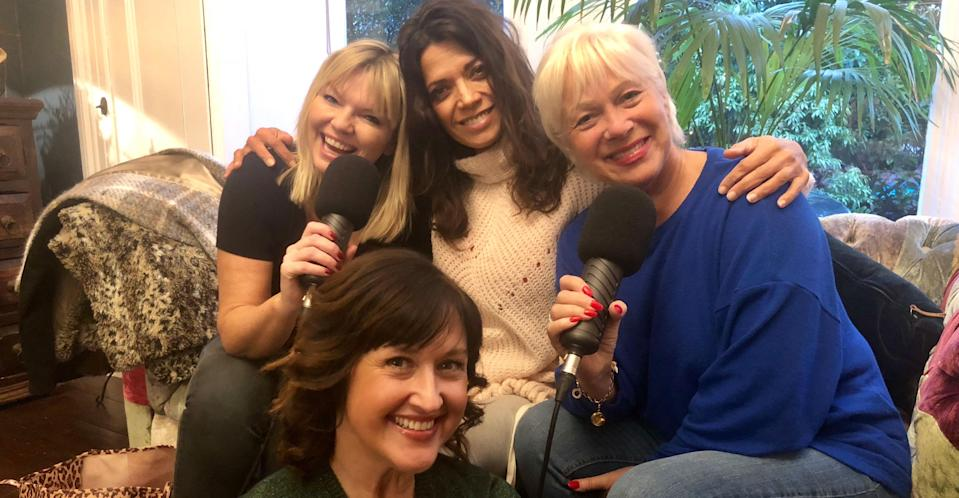 Welch recording 'White Wine Question Time' with host Kate Thornton and friends Angela Lonsdale and Jenny Powell.