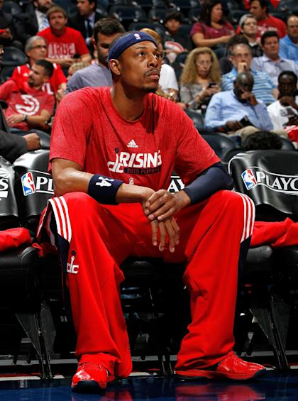 ATLANTA, GA - MAY 13: Paul Pierce #34 of the Washington Wizards warms up for Game Five of the Eastern Conference Semifinals of the 2015 NBA Playoffs against the Atlanta Hawks at Philips Arena on May 13, 2015 in Atlanta, Georgia. NOTE TO USER: User expressly acknowledges and agrees that, by downloading and/or using this photograph, user is consenting to the terms and conditions of the Getty Images License Agreement. (Photo by Kevin C. Cox/Getty Images)