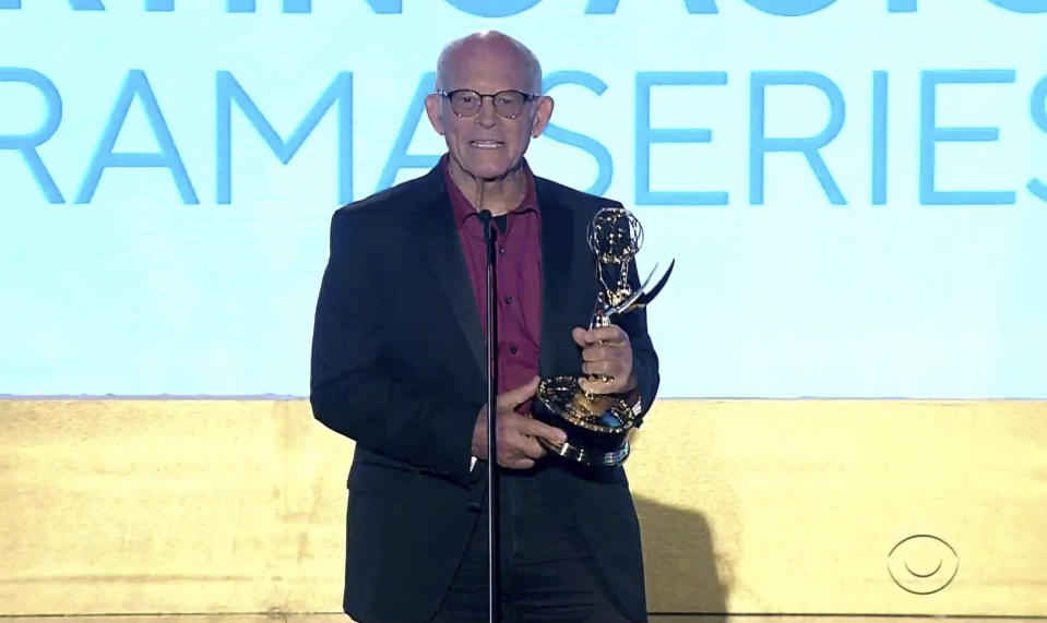 """In this video image provided by NATAS and the Daytime Emmys, Max Gail accepts the award for outstanding performance by a supporting actor in a drama series for """"General Hospital"""" during the 48th Daytime Emmy Awards on Friday, June 25, 2021. (NATAS/Daytime Emmys via AP)"""