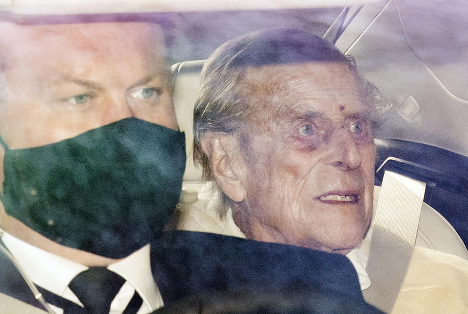 Prince Philip is driven from King Edward VII hospital in London. Source: AP