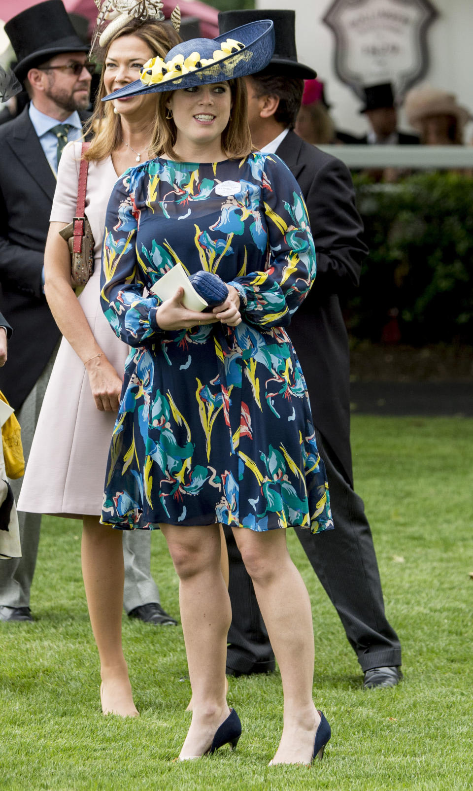 <p>On day one of the 2017 races, Eugenie went wild with her prints in a floral printed silk dress from LK Bennett, two-tone heels from Kurt Geiger and a Bundle MacLaren hat. <em>[Photo: Getty]</em> </p>