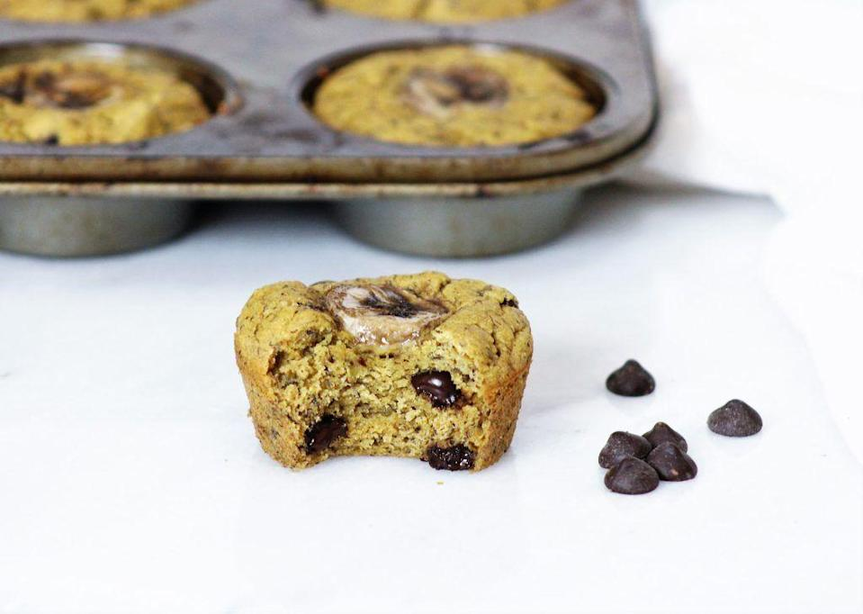 """<p>These garbanzo bean flour-based muffins are just as tasty as they are fiber- and protein-filled. <em>Trust</em>. </p><p><a class=""""link rapid-noclick-resp"""" href=""""https://kellyjonesnutrition.com/no-added-sugar-chickpea-banana-muffins/"""" rel=""""nofollow noopener"""" target=""""_blank"""" data-ylk=""""slk:GET THE RECIPE"""">GET THE RECIPE</a> </p><p><em>Per serving: 130 calories, 6 g fat (0.5 g saturated), 16 g carbs, 110 mg sodium, 5 g sugar (0 grams added), 3.5 g fiber, 3.5 g protein</em></p>"""