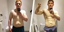 """<p>William Underwood began to lose weight after moving to Paris, France, from England. </p><p>""""I fell out of healthy habits and started to put on a few extra pounds,"""" he told <em>Men's Health</em>.</p><p>In February 2019, Underwood weighed 196 pounds, and vowed to weigh 168 by September. Underwood had previously lost a large amount of weight and knew he would be able to do it again. </p><p>""""I thought if I had made so much progress 4 years earlier,"""" he says, """"why not try to do it again? I saw it as a challenge for myself.""""</p><p>First, Underwood calculated how many calories he needed to eat to create a deficit. He used MyFitnessPal to track his daily diet, which was mostly plants and eggs.</p><p>He included weight training five times per week and cardio two to three days.</p><p>After eight months, Underwood lost 35 pounds, exceeding his goal. </p><p><a href=""""https://www.menshealth.com/weight-loss/a29006816/weight-loss-caloric-deficit-eggs-diet-35-pound-transformation/"""" rel=""""nofollow noopener"""" target=""""_blank"""" data-ylk=""""slk:Read more about William's transformation."""" class=""""link rapid-noclick-resp"""">Read more about William's transformation. </a></p>"""