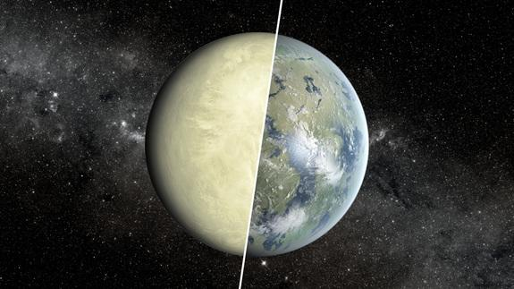 Despite being about the same size, Earth (represented by the right half of this image) and Venus (the left half), have vastly different temperatures and other surface conditions.