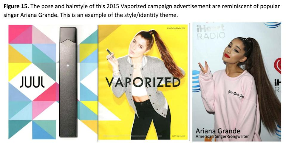 "Juul marketing tactics to be an evolved version of Big Tobacco advertising. (Source: JUUL Advertising Over its First Three Years on the Market"" by Stanford Research into the Impact of Tobacco Advertising)"