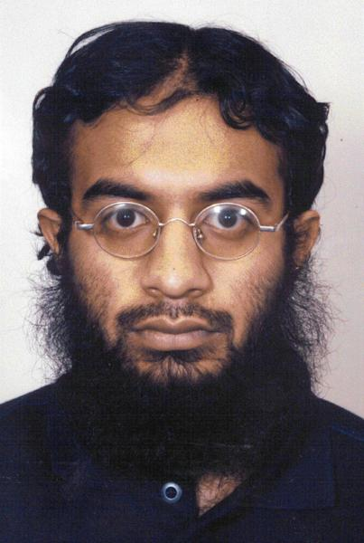 FILE - This file photo provided Monday, Feb. 28, 2005 by Britain's Metropolitan Police, shows a custody photo of Saajid Badat, who pleaded guilty to conspiring to blow up a U.S.-bound aircraft in 2001. Badat is now acting as a high-value government cooperator at the terror trial of Adis Medunjanin in New York, offering an unprecedented firsthand account of how al-Qaida operated in the decade following the Sept. 11 attacks.(AP Photo/Metropolitan Police via PA, File) UNITED KINGDOM OUT; NO SALES