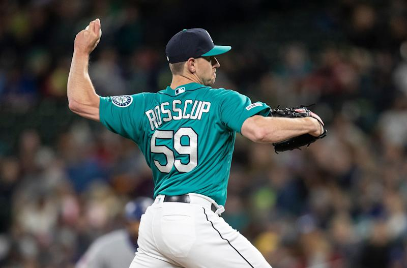 Seattle Mariners reliever Zac Rosscup delivers a pitch during a baseball game against the Texas Rangers, Friday, April 26, 2019, in Seattle. The Mariners won the game 5-4 in 11 innings. (AP Photo/Stephen Brashear)