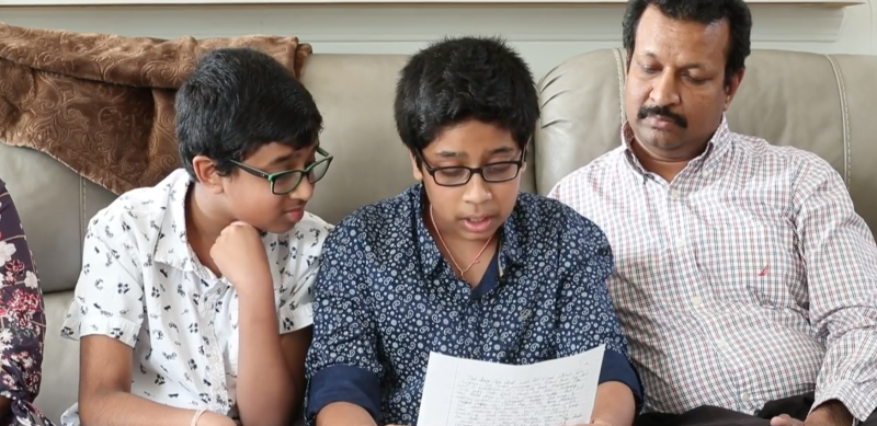 Ramu Chinthala, unable to find the right words to thank his donor's family, is moved by the heartfelt letter his son, Akul, wrote. (Photo: IndyStar)