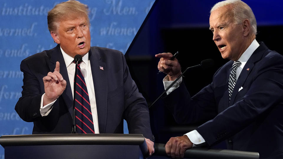 President Donald Trump and Joe Biden during the first presidential debate Tuesday, Sept. 29, 2020, at Case Western University and Cleveland Clinic, in Cleveland, Ohio. (photos: Julio Cortez/AP)