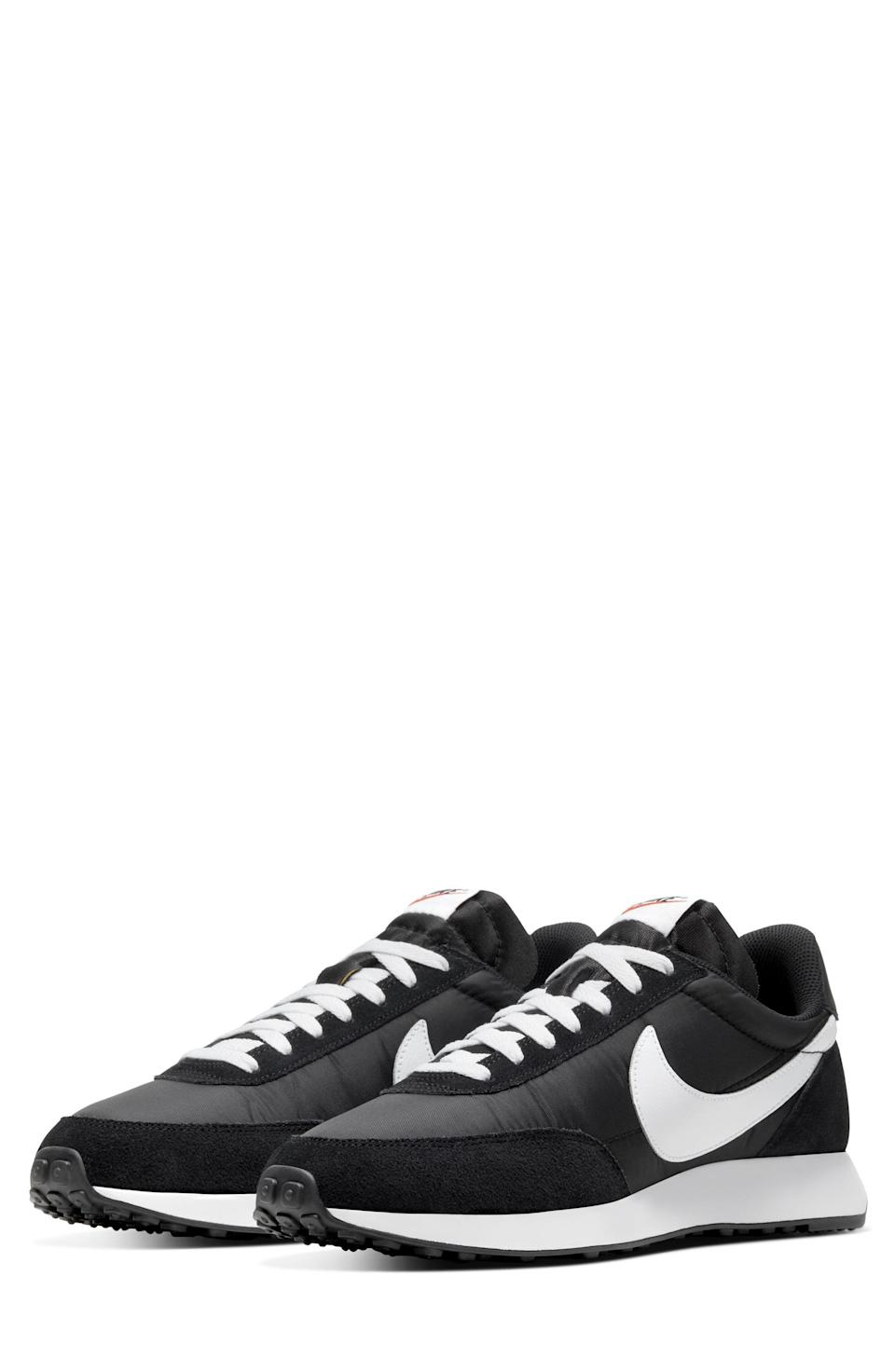 """<p><strong>Nike</strong></p><p>nordstrom.com</p><p><strong>$64.90</strong></p><p><a href=""""https://go.redirectingat.com?id=74968X1596630&url=https%3A%2F%2Fwww.nordstrom.com%2Fs%2Fnike-air-tailwind-79-sneaker-men%2F6422084&sref=https%3A%2F%2Fwww.menshealth.com%2Fstyle%2Fg37081969%2Fnordstroms-anniversary-sale-best-sneakers%2F"""" rel=""""nofollow noopener"""" target=""""_blank"""" data-ylk=""""slk:BUY IT HERE"""" class=""""link rapid-noclick-resp"""">BUY IT HERE</a></p><p><del>$90</del><strong><br>$64.90</strong></p><p>Those who want to have the athletic look at all hours of the day will love wearing these sleek sneaks from Nike. Style them with your favorite jeans or a pair of <a href=""""https://www.menshealth.com/style/g36097646/mens-gym-shorts/"""" rel=""""nofollow noopener"""" target=""""_blank"""" data-ylk=""""slk:gym shorts"""" class=""""link rapid-noclick-resp"""">gym shorts</a>—you won't go wrong here.</p>"""