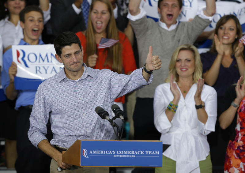 Vice presidential running mate Rep. Paul Ryan, R-Wis, gives the thumbs at his a welcome home rally Sunday, Aug. 12, 2012 in Waukesha, Wis. (AP Photo/Jeffrey Phelps)