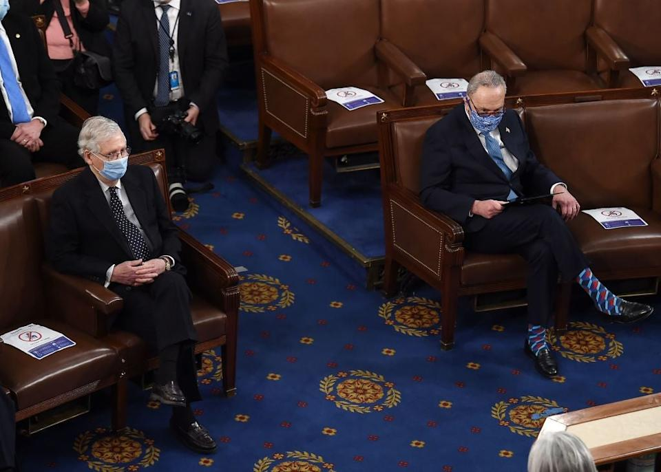 Mitch McConnell, left, and Chuck Schumer are in negotiations about how a 50-50 Senate will function. (POOL/AFP via Getty Images)