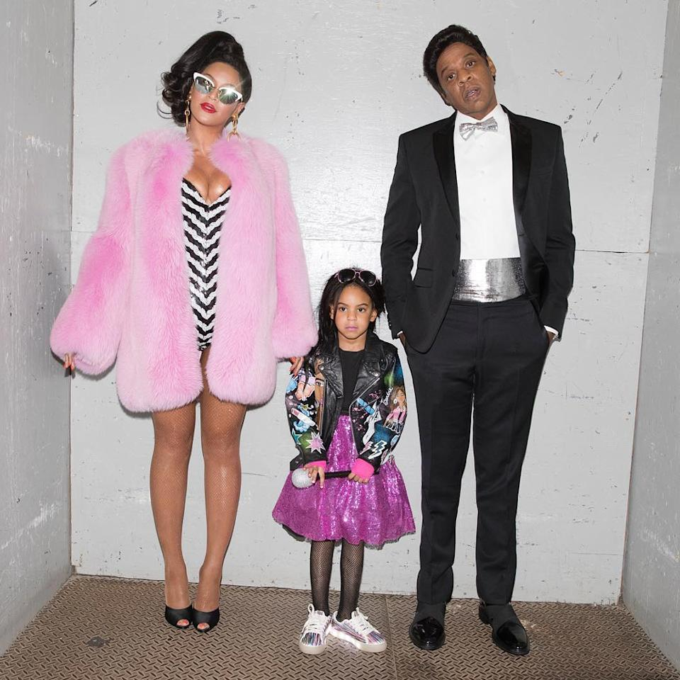 "<p>For Halloween 2016, Blue <a rel=""nofollow"" href=""http://www.instyle.com/news/beyonce-jay-z-barbie-ken-halloween-costumes"">joined her parents</a> for an epic family-group costume.</p>"