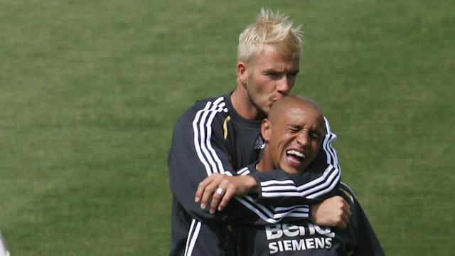 David Beckham Roberto Carlos Real Madrid