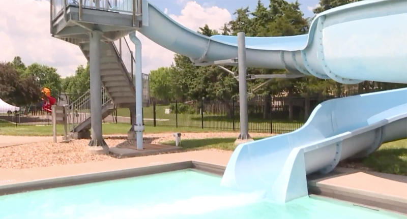 Pictured is the slide which the little girl reportedly slid down just before she began to drown.