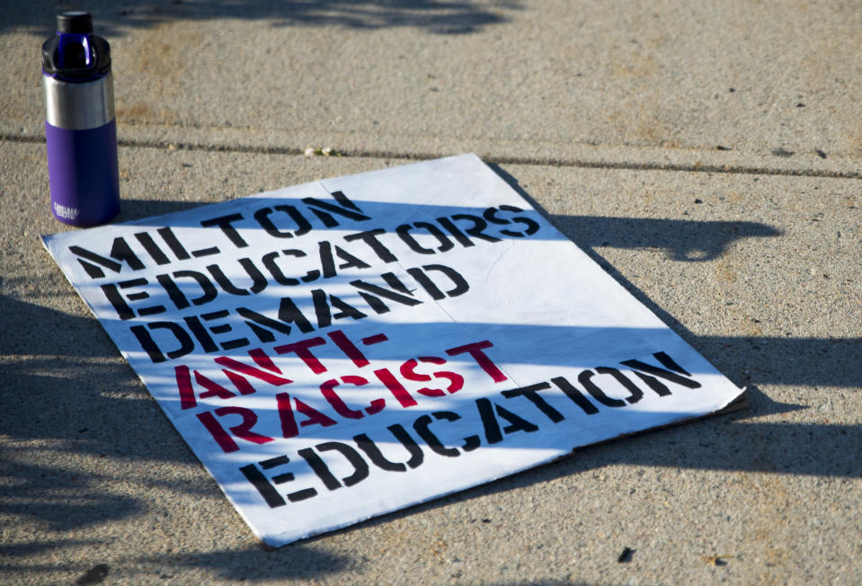 Protest in Milton, MA demands anti-racist education in public schools (Photo: Getty)