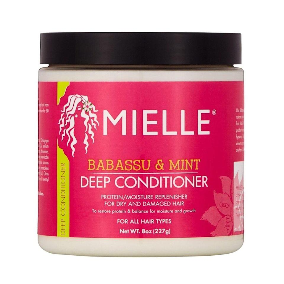 We love the minty scent of the protein-packed Mielle Organics Babassu Oil Mint Deep Conditioner, which helps strengthen your hair without leaving it feeling coarse afterward. In addition to the moisturizing babassu oil and scalp-stimulating mint, the wheat and soy-based amino acid complex in the formula will soothe your dry, itchy scalp while noticeably conditioning damaged ends.